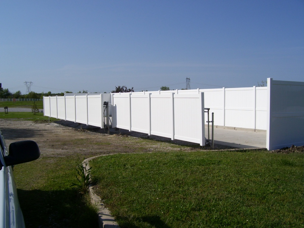 PVC facades on large cantilever gates at Lowell Recycling Center